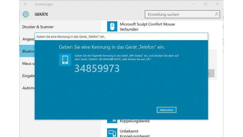 Wenn Sie Windows mit einem Smartphone koppeln, müssen Sie die angezeigte Sicherheits-PIN zur Bestätigung eingeben.