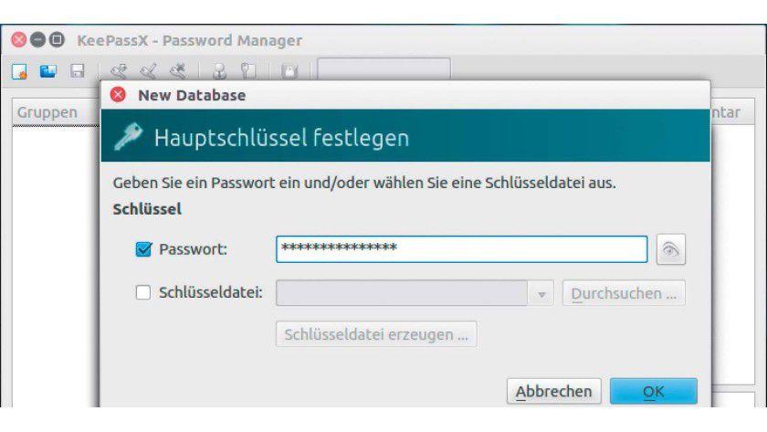 Anlegen der Datenbank in Keepass-X: Der erste Schritt ist immer die Vergabe des Master-Passworts.