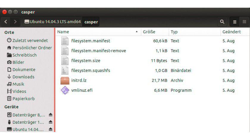 """Die Datei """"filesystem.squashfs"""" beherbergt im ISO-Abbild das Dateisystem des Linux-Systems."""