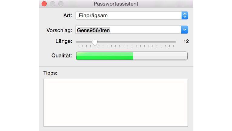 Der integrierte Passwort-Generator hilft bei der Vergabe von neuen Passwörtern. Man kann die Länge voreinstellen und die Art, wie sich das neue Passwort zusammensetzen soll.