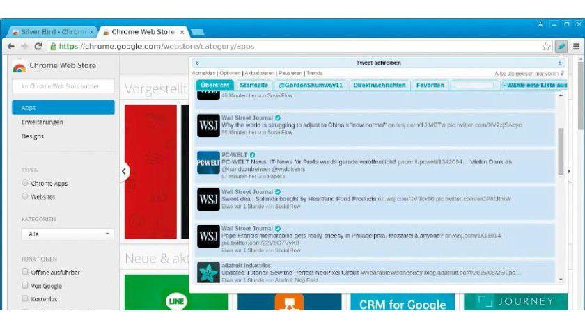 Die Erweiterung blendet den Feed der gefolgten Twitter-Gemeinde über die obere Menüleiste ein. Das Menüsymbol zeigt sogar die Zahl neuer Tweets.