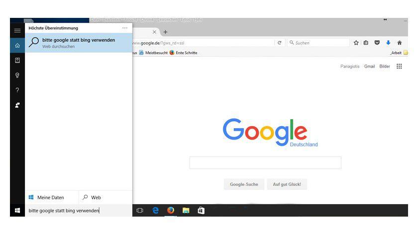 So verwendet Cortana nicht die Bing-Suche