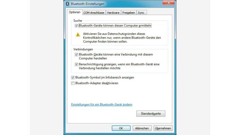 """Damit Bluetooth-Geräte den PC finden und die Kopplung einleiten können, muss unter Windows ein Häkchen vor """"Bluetooth-Geräte können diesen Computer ermitteln? gesetzt sein."""