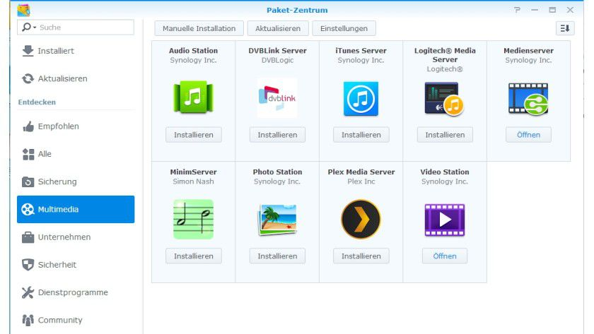 In der Weboberfläche sind verschiedene Apps zu finden, auch der kostenlose iTunes Server.