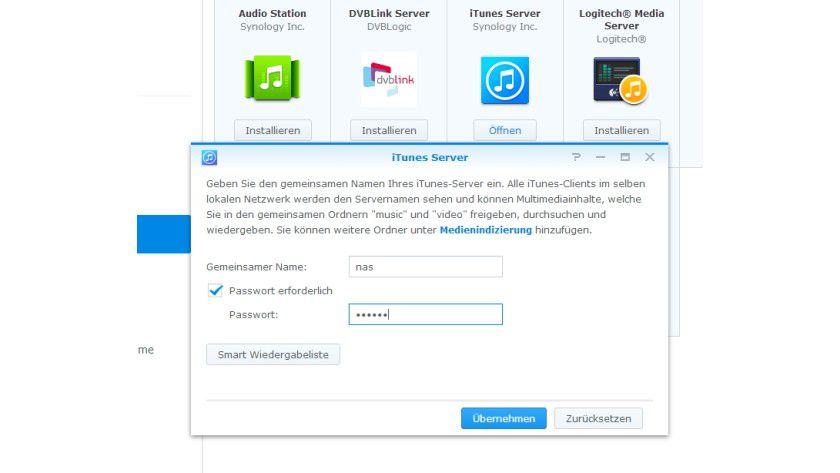 Der iTunes-Server auf dem NAS ist bereit für die Einrichtung.