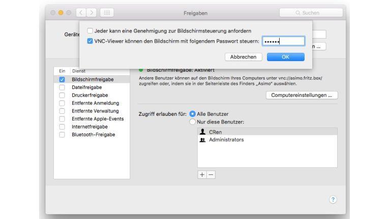 Mac OS X und Linux besitzen einen eingebauten VNC-Server, der nur in den Systemeinstellungen aktiviert werden muss.