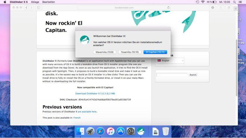 Mit dem Tool DiskMakerX erstellen Sie einen Installationsdatenträger für OS X