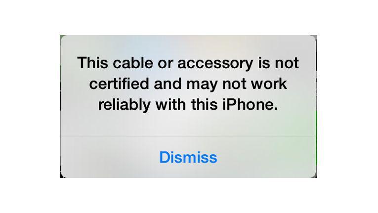 Das iPhone hat ein inkompatibles Zubehör erkannt.