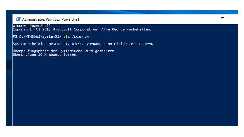 In der Powershell können mit dem Befehl sfc /scannow die Systemdateien überprüft und repariert werden.