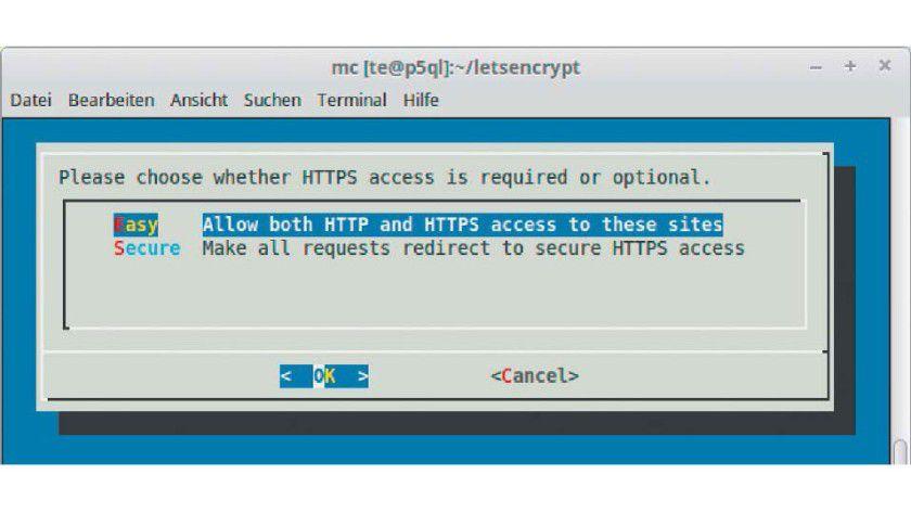 """Der Let's-Encrypt-Client kann Apache so konfigurieren, dass alle Anfragen auf """"https://"""" umleitet."""