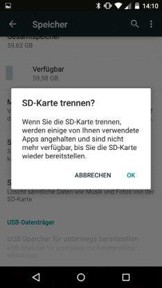 Wenn Sie die Micro-SD-Karte als Speicher für Apps verwenden, sollten Sie diese vor dem Herausnehmen im laufenden Betrieb trennen.