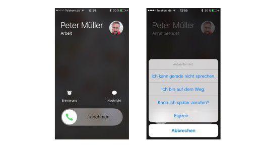 """Anrufe kann man mit einem Tipp auf """"Nachricht"""" mit einer SMS beantworten."""