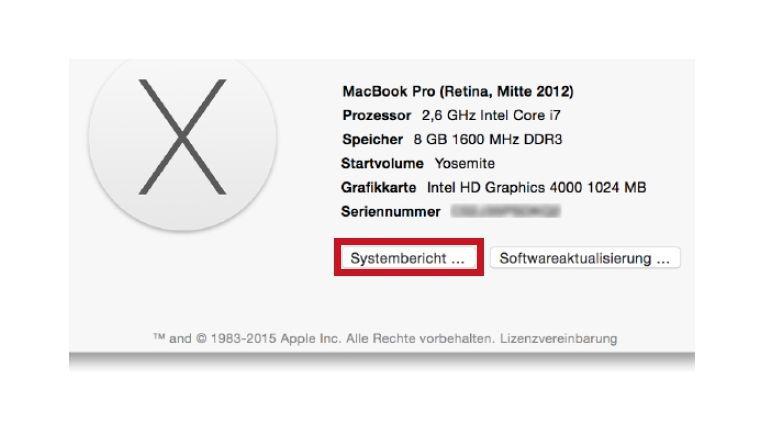 """Systeminformationen lässt sich auch über den Info-Dialog """"Über diesen Mac"""" im Apfel-Menü starten. Klicken Sie auf """"Systembericht""""."""