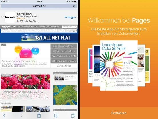 Mit iOS 10 können (Business-)Anwender zwei Fenster der gleichen App im Split-Screen-Modus ansehen.