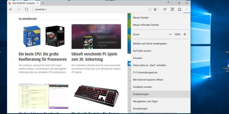 Microsoft Edge kann jetzt auch mit Erweiterungen arbeiten.