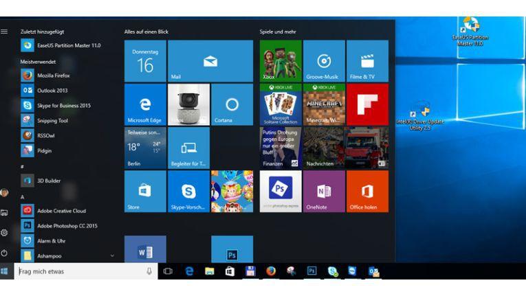 Das neue Windows 10 ist wieder mit dem aus Windows 7 bekannten Start-Menü ausgestattet.