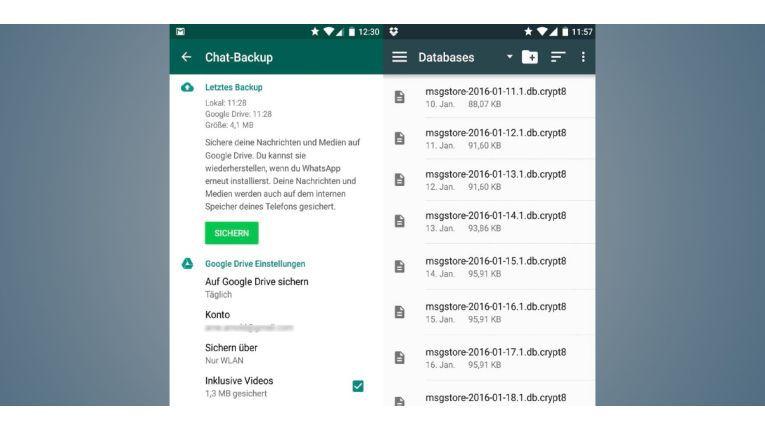 Die Chat-App Whatsapp erstellt jede Nacht um zwei Uhr eine Sicherung Ihrer Nachrichten. Darauf können Sie zurückgreifen, wenn Sie versehentlich eine Nachricht oder ein Foto gelöscht haben.