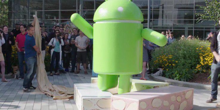 Die Android Nougat Statue steht vor dem Google-Campus