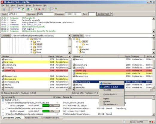 4 geniale gratis FTP-Tools. Der Screenshot zeigt den FTP-Client Filezilla im Ausschnitt.