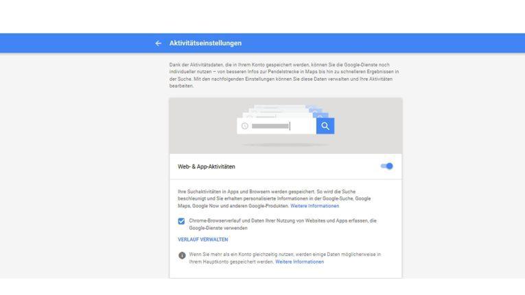 In den Google-Aktivitäteneinstellungen können Sie bestimmen, welche Daten Google speichert.