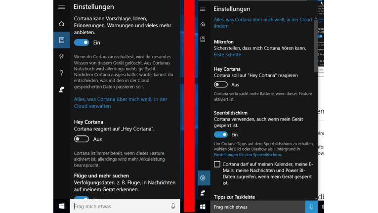 Cortana Einstellungen - vor und nach dem Update