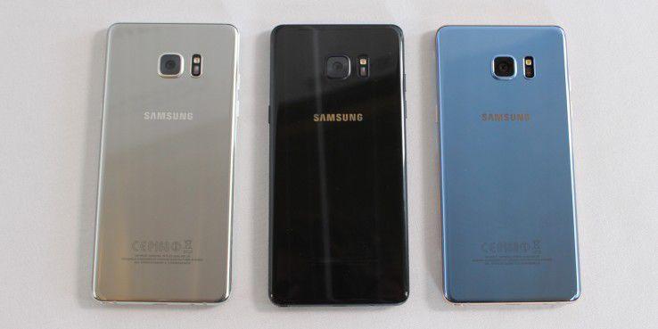 Das Galaxy Note 7 kommt in den drei Farben Silber, Schwarz und Blau.