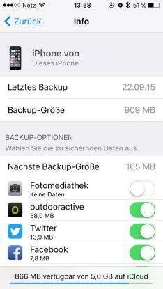 Die Backup-Optionen unter iOS. Wenn wir hier Speicherfresser vom Backup ausschließen, ist wieder viel Platz in der iCloud