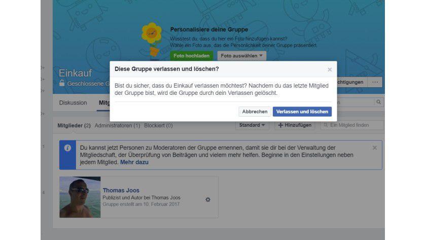 Auch Facebook-Gruppen lassen sich jederzeit löschen.