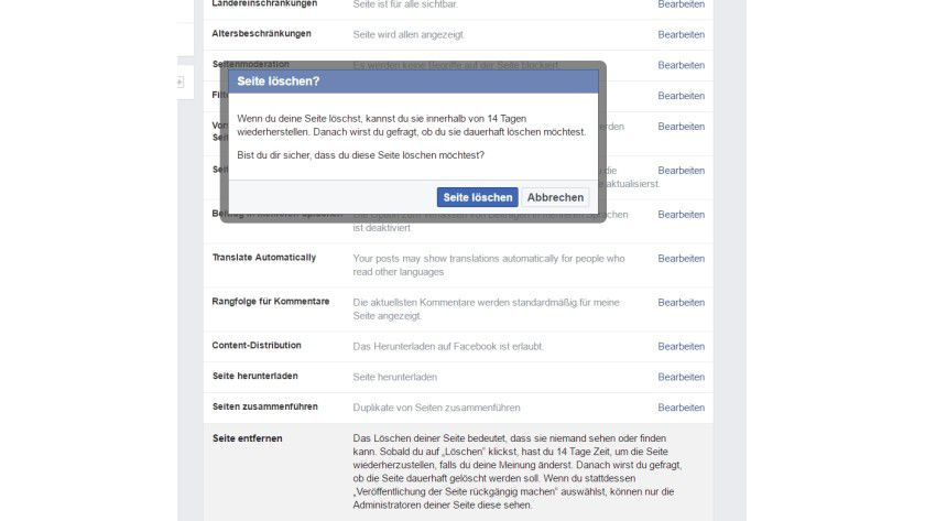 Auch Facebook-Seiten können Sie jederzeit löschen.