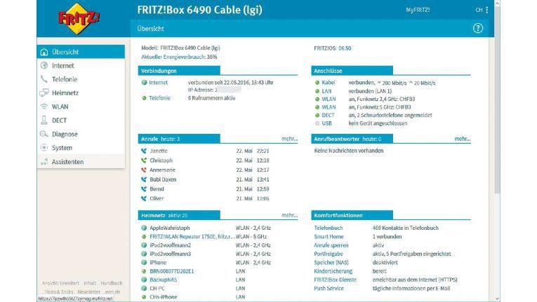 Die aufpolierte Begrüßungsseite der Fritzbox mit Fritz-OS 6.5 zeigt auf einen Blick den Status bestehender Verbindungen, die aktiven Anschlüsse sowie die letzten Aktivitäten in Ihrem Heimnetzwerk an.
