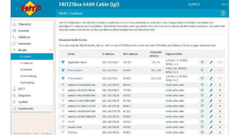 Die nach Spaltenüberschriften sortierbare Heimnetzübersicht liefert einen umfassenden Überblick aller derzeit mit der Fritzbox verbundenen Netzwerkgeräte samt Status der einzelnen Komponenten.