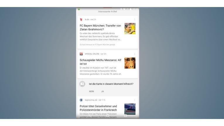 Google Now zeigt Ihnen anpassbare Nachrichten von diversen Publikationen zu den Themen Sport, IT, Politik und mehr.