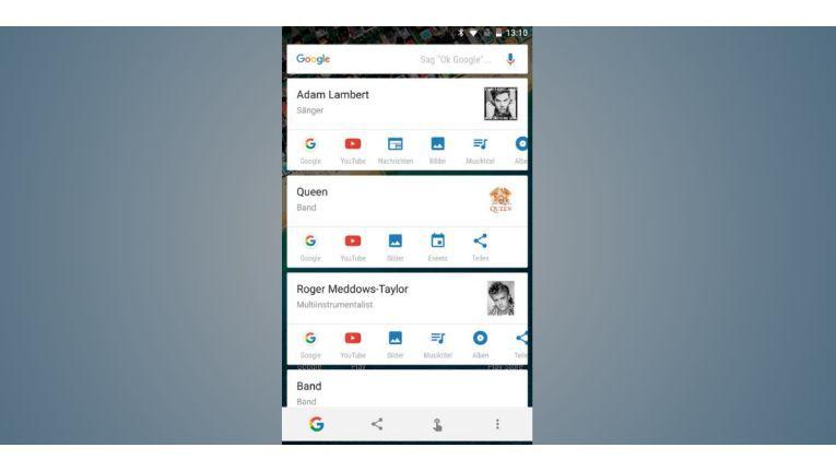 Now On Tap liefert Ihnen durch langes Drücken auf den Home-Button Infos zu Stichworten, die auf dem aktuellen Bildschirm zu sehen sind.