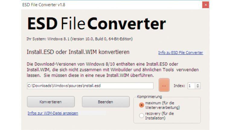 ESD Fileconverter zeigt Informationen zur WIM-Datei an und kann die Datei bei Bedarf neu komprimieren.
