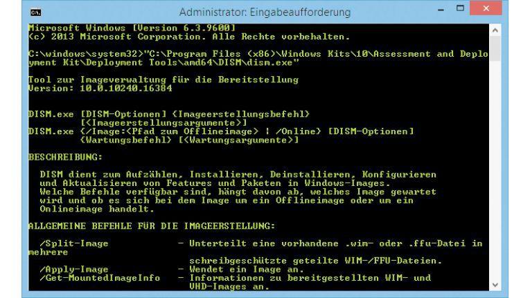 Das Tool Dism bietet Funktionen, mit denen sich WIM-Dateien mounten sowie Update-Pakete und Treiber einbauen lassen.