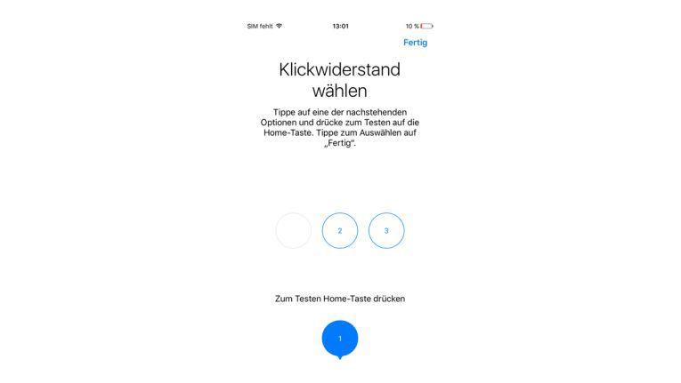 Klickwiderstand des Home-Buttons einstellen.