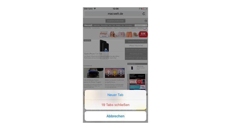 Mit einem Tipp können Sie jetzt alle Browser-Tabs auf einmal löschen.