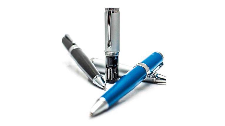 Der Monteverde Powerbank Pen ist ein Kugelschreiber mit integrierter 400-mAh- Powerbank. Er ist in verschiedenen Farben erhältlich.
