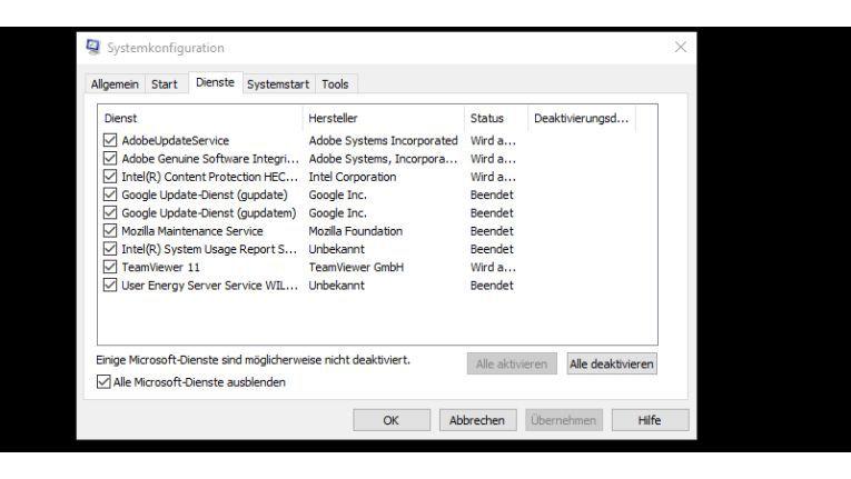 """Ein Häkchen bei """"Alle Microsoft-Dienste"""" genügt, um nur noch alle """"fremden"""" Windows-Dienste anzeigen zu lassen"""