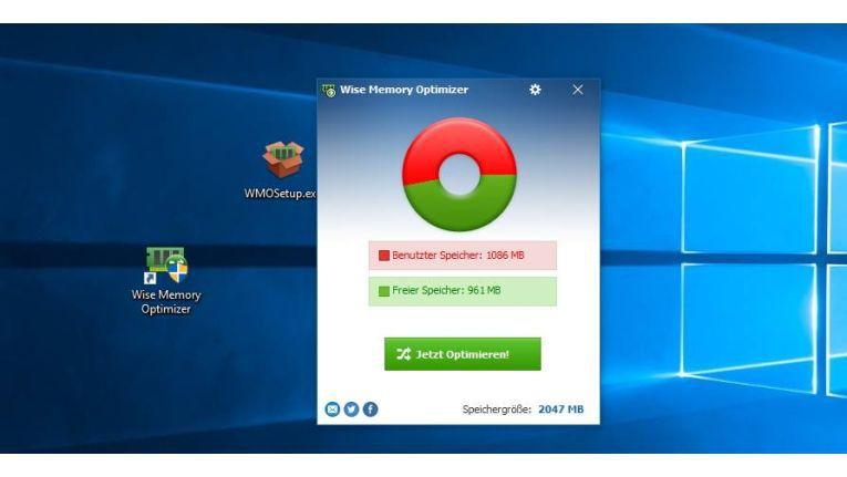 Anzeigen des verwendeten Arbeitsspeichers in Windows 10 mit Wise Memory Optimizer