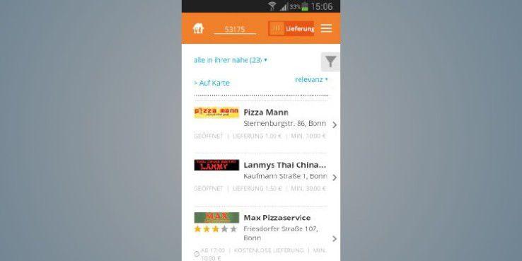 """Lieferservice.de bietet einen """"Foodtracker"""", mit dem Sie Ihre Speisen auf dem Weg zu Ihnen nachverfolgen können."""