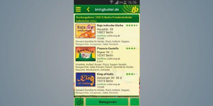 Bringbutler - Pizza, Pasta ... weist ein schickes Design auf, kann aber von der Auswahl nicht ganz mithalten.