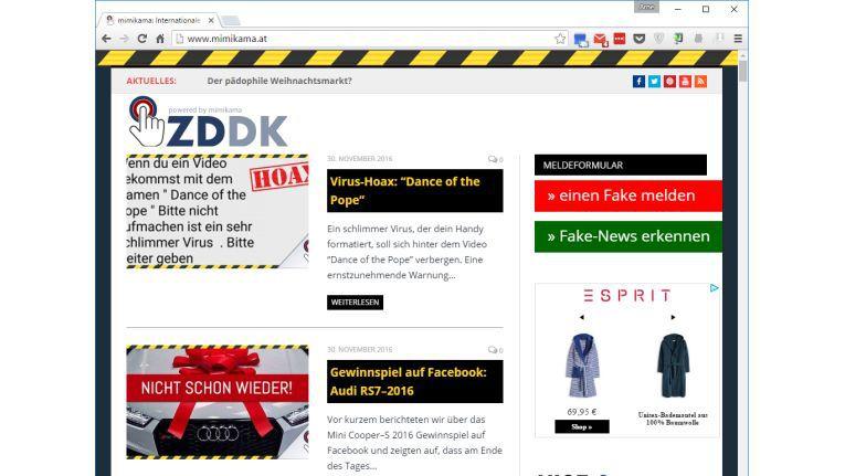 Die Website Mimikama versammelt aktuelle Fake-News, falsche Gewinnspiele, Zeitungsenten, aber auch wahre Kuriositäten aus dem Internet.