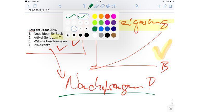 Mit Notability erhalten Sie einen vollumfänglichen digitalen Notizblock. Besonders mit dem iPad Pro in Kombination mit dem Apple Pencil eine feine Möglichkeit, in Meetings effektiv Notizen zu machen.