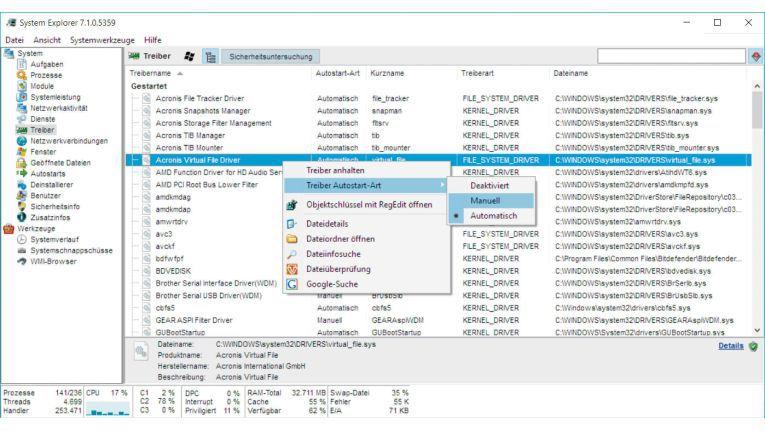 Mit dem System Explorer lassen sich nicht nur installierte Dienste in einer Übersicht anzeigen, sondern sie auch anhalten und den Starttyp ändern. Auch führen Sie eine Google-Suche und eine Schad-Software-Analyse durch.