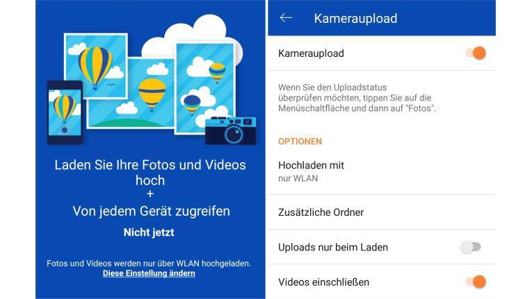 Den automatischen Kameraupload am Smartphone bieten die meisten Cloud-Apps. Die Abbildung zeigt Installation (links) und Einrichtung am Beispiel von Microsoft Onedrive.