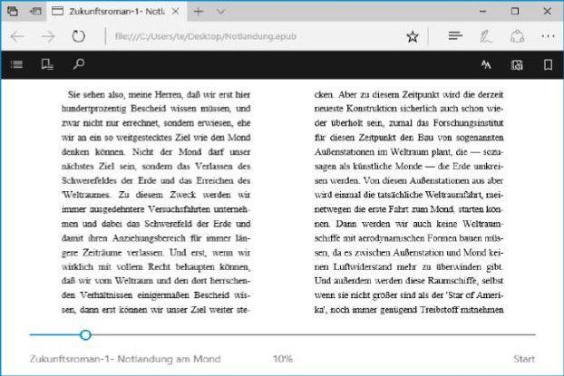 Bücher lesen: Der Edge-Browser kann jetzt Bücher im Epub-Format anzeigen und bei Bedarf vorlesen. Die Sprachausgabe ist verständlich und macht nur wenige Fehler.