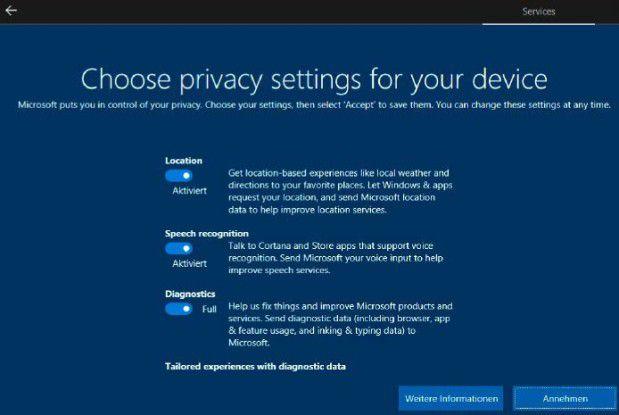 Datenschutz: Bei der Installation lassen sich drei Optionen zum Schutz der Privatsphäre festlegen. Die Einstellungen können Sie später jederzeit ändern.