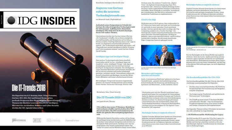 """Der IDG Insider """"IT-Trends 2018""""."""