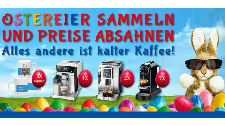 Die Ecom Electronic Components Trading GmbH wünscht ihren Kunden bei der Osteraktion rund um den Kaffee viel Glück .